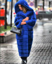 120cm Real Mink Fur Coats For Women Royal Blue Natural Fur Jacket Hoodie Outwear