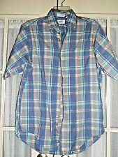 Mens SERO Shirt Size M Blue Plaid Short Sleeves