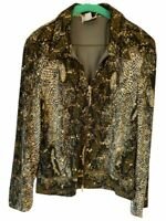 Joseph Ribkoff Womens Jacket Coat Brown Snake Print Zip Up Collar Sequins 14