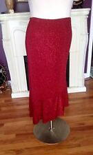 Fashion Bug Stunning Red Glitter Skirt Ruffle Bottom Wrinkle Free Size14-16 NWTG