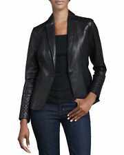 Womens black Leather blazer Jacket Slim Fit Formal & Informal Wear Coat # 318