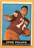 1961 Topps Football #130 John Paluck (EX) Lot 701 -- Washington Redskins