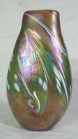 "Rose Tree Studios Green Yellow Gold Iridescent Pillow Art Glass Petal Vase 12"""