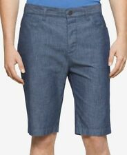 Calvin Klein Jeans Mens Coated Blue Shorts Blue Chambray Mens Size 36 New
