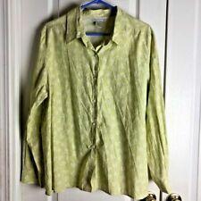 Casual Corner Women's Top Blouse Green Floral Casual Button Down Shirt XL