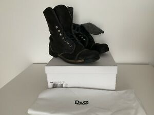 """Dolce & Gabbana D&G Military Army """"Worn Look"""" Vintage Black Leather Boots"""