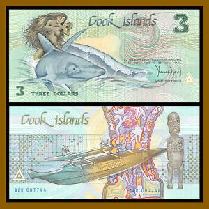 Cook Islands 3 Dollars, 1987 P-3 Low 4 Digits S/N 007744 Shark Unc