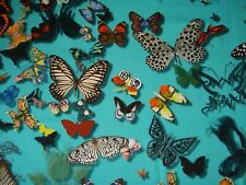 DESIGNERS GUILD CURTAIN FABRIC DESIGN Butterfly Parade 1.4 METRES  LAGOON COTTON