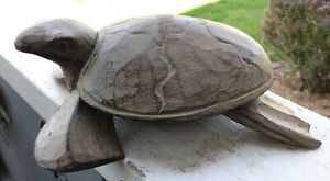 Vintage Hand Carved Sea Turtle Trinket Box Folk Art Original Stain Great Patina