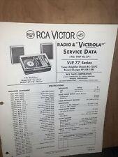 RCA Victor VJP 77 Series -Service Data-schematics, Parts List. Record Changer