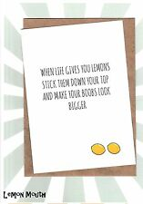 Funny Greetings Card / Girl / Humour / Get Well / Cheer Up / Laughs - Lemons