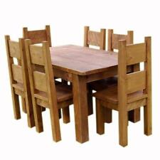 (any size made) SOLID WOOD DINING TABLE and 6 CHAIRS  CHUNKY RUSTIC PLANK PINE