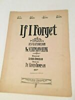 Vintage Piano Sheet Music IF I FORGET 1921
