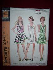 1970 McCALL'S #2440 - LADIES GROOVY RETRO MINI DRESS w/SCARF COLLAR PATTERN  13