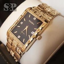 New Men Elgin Luxury Gold Tone Bling Lab Diamond Stainless Steel Bracelet Watch