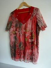 Ladies Lovely Pink Mix Floral Lined V Neck Hip Length Stretch Top Size 16, Vgc