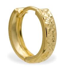 ECHT GOLD *** Kleine Herren Single-Creole Ohrring diamantiert gemustert 13 mm