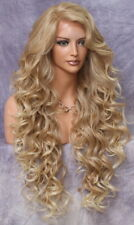"40"" Long Lace Front Wig Full Beautiful Curly Blonde Mix  Heat OK WBPR 27-613"