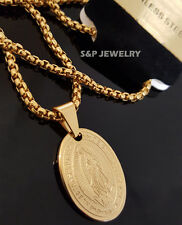 "Gold Stainless Steel De Guadalupe Small Pendant & 24"" Round Box Chain Necklace"