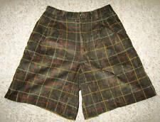 Lizsport Vtg 80 Green Plaid Corduroy Retro Mod High Waist Bermuda Boho Shorts 12