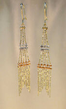 "14K Yellow Gold 3-Tier Chandelier Drop Dangle Earrings 3"" Drop - 2.8g"