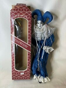 "VINTAGE 15"" Harlequin Mardi Gras Jester Clown Porcelain Doll BLUE AND WHITE"