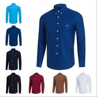 Mens Corduroy Cord Plain Shirt Retro Long Sleeve Button Down Collar L~5XL Casual