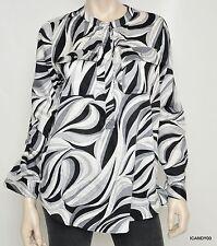 Nwt $120 Michael Kors Cotton Tab Sleeves Shirt Blouse Dress Top ~Black/Grey *8