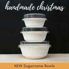 5 EACH SIZE (15pc) SUGARCANE BOWLS (biodegradable compostable) + CLEAR PET LIDS