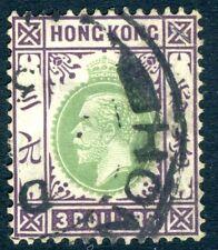 HONG KONG-1926 $3 Green & Dull Purple Sg 131 GOOD USED V16466