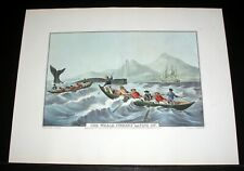 "OLD 1960'S CURRIER & IVES LITHO PRINT, ""THE WHALE FISHERY LAYING ON"" ORIG 1852!"