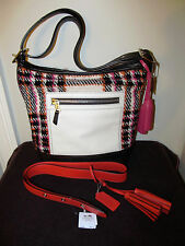 Coach Colorblock Boucle Plaid Shoulder Bag w/ Leather Trim & Add. Strap,Tassels