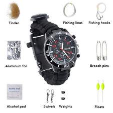 Multi-Functional Paracord Survival Bracelet Watch with Buckle Flint Fire Starter