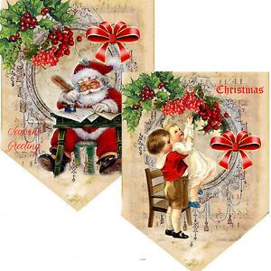 Vintage Christmas Bunting, Santa banner, Victorian Christmas, Party Decoration