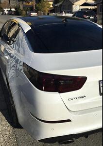 Fits: 2014-2015 Kia Optima Full F&R vinyl headlight and tail light tint overlays