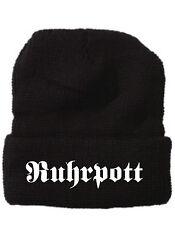Strickmütze Mütze schwarz mit Schriftzug Ruhrpott