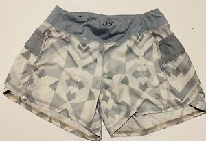 Athleta Girls L Large 12 Gray White geometric print Athletic running shorts