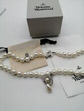 vivienne westwood silver pearl drop statement necklace choker