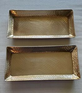 """NEW THRESHOLD Set of 2 GOLD Hammered ALUMINUM SERVING TRAY 13.5""""x6.5""""x1"""" Deep"""