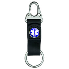 Star of Life - EMT RN MD Belt Clip On Carabiner Leather Keychain Fabric Key Ring