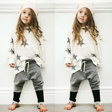 2Pcs Kid Long Sleeve Baby Boys Girls StarT-shirt Tops+Pants Outfits Clothes 120