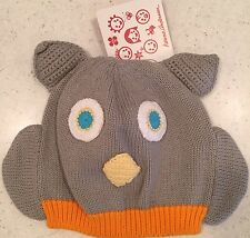 NWT $18 Hanna Andersson Gray Owl Baby Cap Hat ~ S XS XXS 0-12 M Toddler ~ Gift