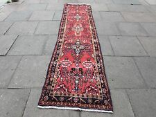Old Hand Made Traditional Persian Rug Oriental Pink Wool Long Runner 305x78cm
