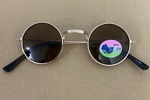 Toddler Sized Mini Retro Gold Metal John Lennon Brown Lens Sunglasses UV 400
