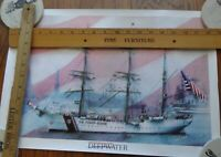 POSTER, 2 USCG EAGLE POSTERS, SAILING SHIP, GREAT VETS CHRISTMAS GIFT, MILITARY