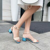 Womens Block Med Heels Ankle Strap Stitching Color Sandals Open Toe Casual Shoes