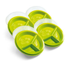 Portion Control Plates w Lids Weight Loss Healthy Nutrition Eat Learn Disc Set 4