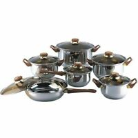 12 Piece Stainless Steel Pots and Pans Kitchen Cooking Cookware Set Glass Lids