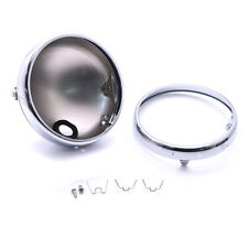 "7"" Motorcycle Headlight Housing Silver Aluminum Cover Shell Bowl Mounting Shroud"