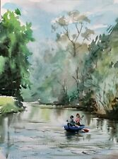 Cherwell Oxford rowing canoe boats river Thames watercolour original painting